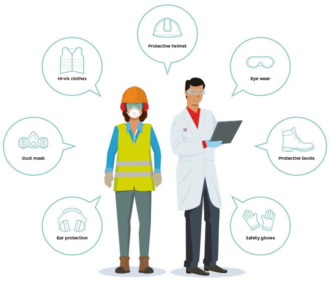 [image] illustration of two people in various types of PPE