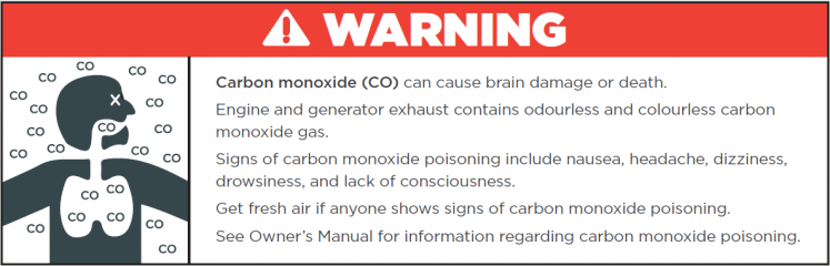 Carbon monoxide warning sticker example