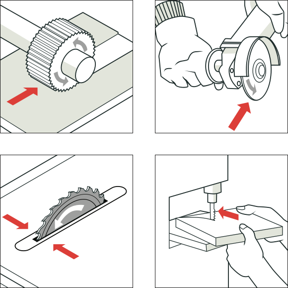 [Image] Four illustrations with red arrows pointing to examples of cutting hazards.