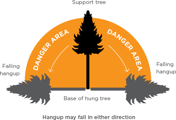 [Image] Infographic showing support tree and danger zone of falling hung-up tree.