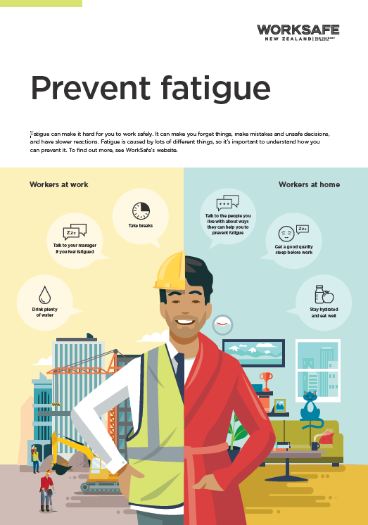 [image] thumbnail of fatigue poster with illustration of worker on a construction site and at home